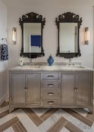 Bathroom Vanity With Unusual Design With Unique Mirror And Silver - Silver bathroom