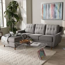 Tufting Sofa by Baxton Studio Mckenzie Mid Century Grey Fabric Upholstered Button