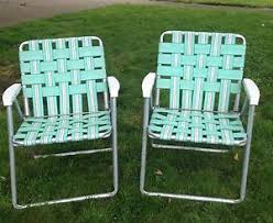 Vintage Aluminum Folding Chairs Vintage Aluminum Webbed Folding Rocking Chair Lawn Patio Outdoor