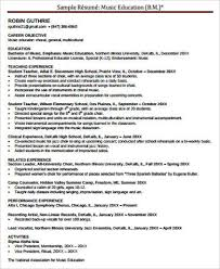 Sample Music Teacher Resume by Sample Music Resume 7 Examples In Word Pdf