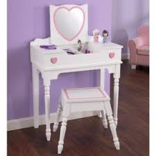 Girls Vanity Table And Stool Girls Wooden Vanity Set Foter
