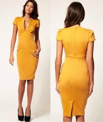 v neck knee length bodycon dresses yellow bodycon dresses