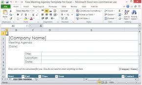 free meeting agenda template for microsoft excel