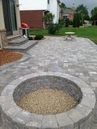 Stone Fire Pit Kit by Ep Henry Pavers In Cobble Stone Chestnut Random Installation