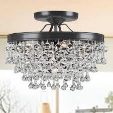 crystal semi flush mount lighting eye catching crystal flush mount lighting semi chandelier