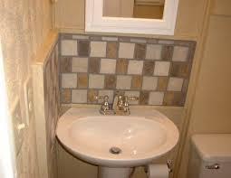 backsplash ideas for bathrooms backyard pedestal sink with backsplash for backyard ideas bathroom