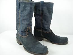 dingo boots s size 11 vintage acme dingo suede blue denim biker boots sz 11 d