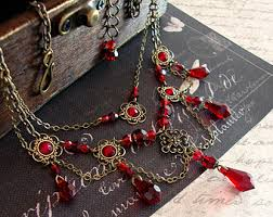 red gothic necklace images Victorian choker necklace statement beaded necklace choker jpg