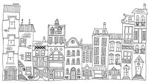 houses drawings hand drawn line drawings of various whimsical houses shops and b