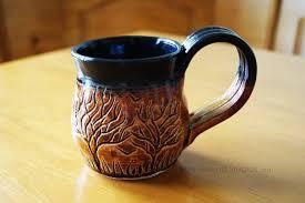 Tree Mug Ceramic Brown And Black Tree Themed Mug By Pixelboundstudios On
