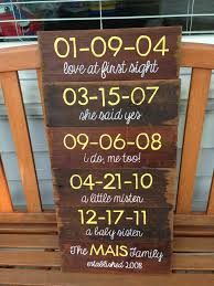 5 year anniversary gift wood panels with special dates crafty