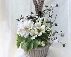 White Floral Arrangements Centerpieces by Feather Arrangement Etsy