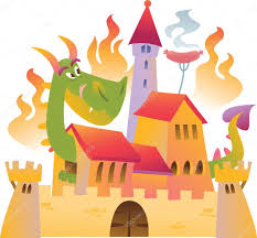 cartoon dragon is siting in the castle in fire u2014 stock vector