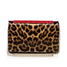 christian louboutin vanité small leopard patent leather clutch in