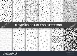 Black And White Designs Collection Swatches Memphis Patterns Seamless Fashion Stock Vector