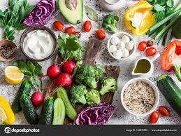 balanced healthy diet food background in a mediterranean style