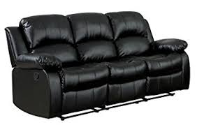 Black Leather Sofa Recliner Homelegance Reclining Sofa Black Bonded