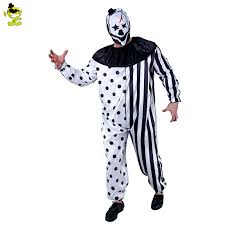 killer clown costume 2017 plus size striped kill clown party costumes men jumpsuit mask