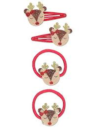 christmas hair accessories 4 reindeer bobble and clip christmas hair set kids george