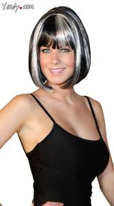 hairstyles with grey streaks this deluxe bobbed black wig features white strands blunt bangs
