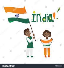 Indian Flag Cake Two Boys Kids Teenagers Indian Flags Stock Vector 679774570