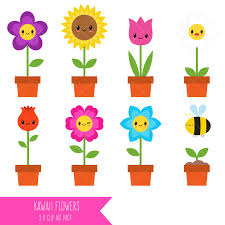 Smiley Flowers - kawaii flowers clipart happy flowers smiley flowers from