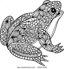 hand drawn ornamental doodle frog illustration zentangle