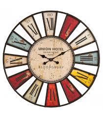 Grande Horloge Murale Carrée En Bois Vintage Achat Horloge Murale Bois Et Fer Originale Multicolore Bloomsbury 80 Cm