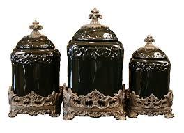 fleur de lis kitchen canisters set of 3 black onyx fleur de lis kitchen canisters set for the