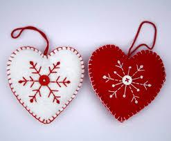 felt christmas ornament scandinavian heart embroidered