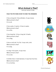 comprehension worksheet what animal is that