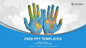 world map painted on hands powerpoint templates