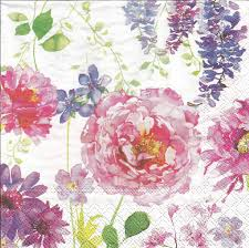 Decorated Paper Pink Roses Paper Napkins Set Of 4 Paper Napkins For Decoupage