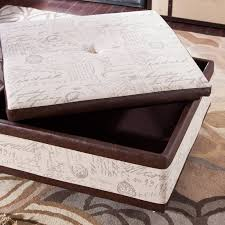 armen living corbett leather and linen coffee table storage