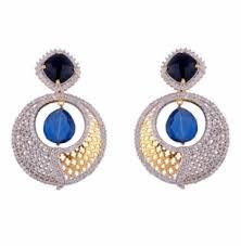 dangler earrings dangler earrings blue american diamond danglers earrings