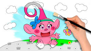 baby trolls poppy coloring book pages video kids