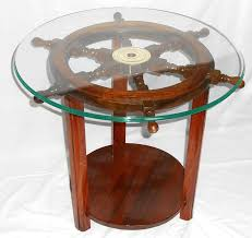 nautical ship wheels pedestal coffee table with round glass top