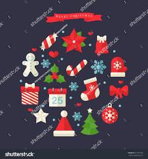 flat christmas ornaments icon set stock vector 511951768