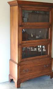 Solid Cherry Wood Bookcase Barrister Bookcase With Glass Door In Brown Barrister Bookcase