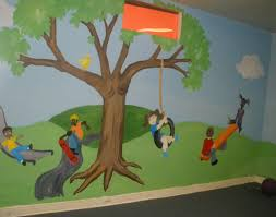 kiddsmiles wall murals commercial and residential hand painted playground mural swings tire tree swing see saw slide