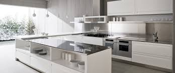 white modern galley kitchen design and decoration using large