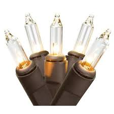 set of 10 battery operated clear mini lights brown wire