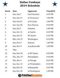 new printable cowboys schedule 2014 nfl schedules