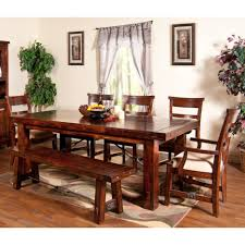 dining room rustic mahogany dining table with rectangular tabletop