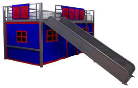 bunk and loft bed curtain set in blue contemporary bunk beds