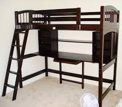 Space Saving Queen Bed Frame Bedroom Full Size Metal Loft Bed Which Furnished With Computer