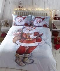 Single Bed Linen Sets Father Christmas Santa Claus Duvet Quilt Cover Xmas Bedding Linen