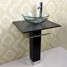 Vanities With Vessel Sinks Modern Minimalist Black And White Bathroom Vanity With Shinny