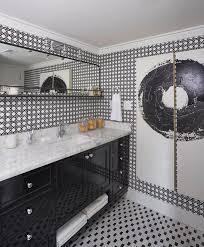 black and white geometric wallpaper contemporary bathroom