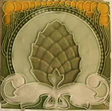 art nouveau jugendstil antique tile pine cone sold au fil de l